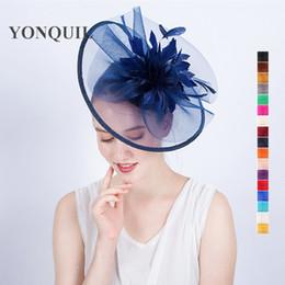 Wholesale Lady Fascinators - Navy feather flower headband ladies wedding hat hair fascinators for women royal ascot race big hats hatnator 17 colors SYF120