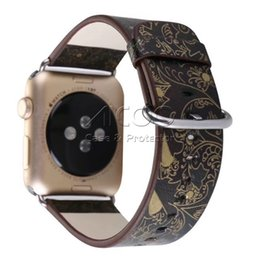 Wholesale flower wrist bands - New Fence Flowers Watch Band Fabric Canvas Leather Strap Wrist Bracelet Replacement For APPLE Watch 38mm 42mm OPPBAG