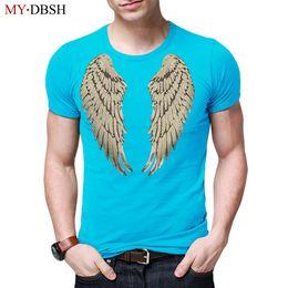 Canada 2018 Nouveau Mode Hommes T Shirt Harajuku Conception Angel Wings Sequin Broderie O Cou T-Shirts Casual Style Été À Manches Courtes T-shirts cheap embroidery sequins neck designs Offre