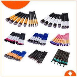 Wholesale Cosmetics Lips - 10 Colors 10pcs set Professional Makeup Brushes Tools Make Up Full Cosmetic Brush Eyeshadow Lip Face Powder Brush Sets CCA8994 50set