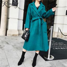 63a010451be Rimocy 2018 winter turn down collar long coat ladies wool blends warm  cashmere coat European fashion outwear women woolen coat D18110702