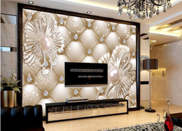 Wholesale Country Style Bags - Wallpaper Mural Wall Sticker 3D Soft Bag Diamond Jewelry Flower Luxury Background Wall papel de parede