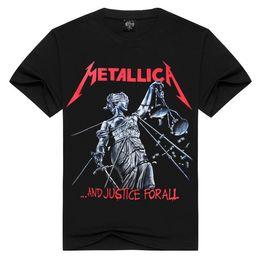 Camisetas de talla grande online-Hombres Mujeres Rock band Metallica camiseta ride the lightning camisetas Summer Cotton Tops Tees T-shirt Hombres Thrash Metal camisetas Plus Size