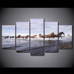 Лошади с масляной краской онлайн-5 шт./Комплект обрамленный HD напечатали лошадей через реку стены искусства холст печать плакат холст картины абстрактная живопись маслом
