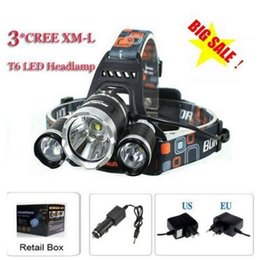 Wholesale High Power Car Led Lamp - 3T6 Headlamp 6000 Lumens 3 x Cree XM-L T6 Head Lamp High Power LED Headlamp Head Torch Lamp Flashlight Head +charger+car charger Free Ship