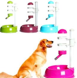 Wholesale hamster pets - Pet Cat Dog Water Drinker Dispenser Food Stand Hamster Feeder Dish Bowl Bottle 4 Colors EEA367 3PCS