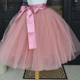 Wholesale Khaki Calf Length Skirt - Wholesale- Puffy 6 Layer Tulle Skirt Pleated Tutu Skirts Womens Elastic Belt Faldas High waist Mid-Calf Knee Length Plus Saia Jupe