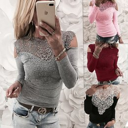 Wholesale ladies lace cotton white blouses - Womens Casual Autumn Long Sleeved Patchwork Lace Panelled Tops Blouse T-Shirt Ladies Solid Color Jumper Shirt Tee