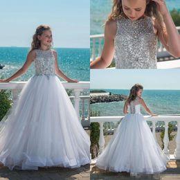 Wholesale Teen Dresses For Weddings - 2018 Sparkly Beaded Crystal Girls Pageant Dresses for Teens Tulle Floor Length Beach Flower Girl Dresses for Weddings