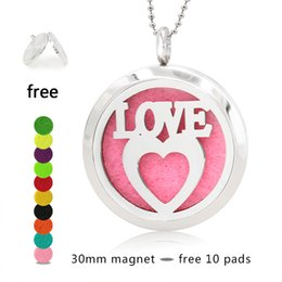 Wholesale Magnetic Heart Pendant Necklace - Love Heart 30mm Magnetic Stainless Steel Essential Oil Aromatherapy Perfume Diffuser Locket Pendant 10pcs Pads Random(no necklace chain)