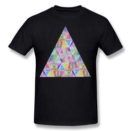Camisetas pintadas a mano online-De alta calidad de los hombres de algodón puro geométrico acuarela pintura de la mano triángulos patrón camiseta de los hombres con cuello en O pantalones cortos blancos camiseta de gran tamaño de la calle
