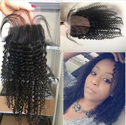 Wholesale Indian Curly Silk Base Closure - Silk Base Closure Kinky Curly Indian Virgin Human Hair Silk Top Closure Curly Silk Base Closure For Sale