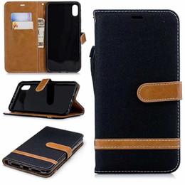 Galaxie-taschenfarbe online-Für iphone xr xs max galaxy s10 lite plus jean hybrid leder brieftasche case für nokia 5.1 3.1 2.1 tuch hit farbe flip abdeckung mit kartentasche