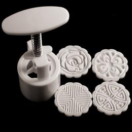Инструменты лунного пирога онлайн-4 марки DIY Mooncake плесень Луна торт шаблон плесень цветы круглый выпечки инструмент