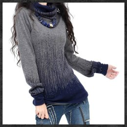 Wholesale Vintage Cashmere Sweater Women - Women's Gradient Black Blue Vintage Cashmere Sweater Women Winter Turtleneck Thick Sweaters And Pullovers Female Warm Jumpers