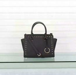 Wholesale studded leather purses - Genuine leather Michael Kally Large Selma Studded Designer Bags Purse Shoulder Tote Bag