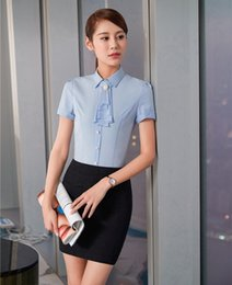 Wholesale Women Two Piece Formal Set - Formal Summer Women Business Suits Two Piece Skirt and Shirts Sets Sky blue Blouse and Tops Female Elegant