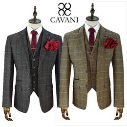 Wholesale Mens Waistcoats Custom - 2018 Mens Suits Cavani Tweed Wool Blazer Waistcoat Trousers Sold Separately 3 Piece Suit Custom Made Mens Suit Groomsmen Suits Top Quality