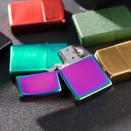 2019 espelhos de fumaça Clássico Homens De Metal Mais Leve Fumar Cigarro Fumadores de Cigarro Mais Leve Querosene Isqueiros Multi-cor Espelho Especial placa de cromo brilhante