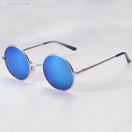 оптовые хиппи-очки Скидка Оптовая продажа-2016 хиппи человек ретро HD солнцезащитные очки круглый объектив металлический отражающий зеркало старинные очки Очки
