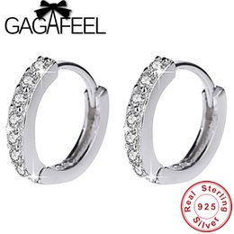 Pendientes de aro completo online-GAGAFEEL 13mm 925 Sterling Silver Apilable Hoop Earrings para Mujeres Completo CZ Zircon Jewelry Accessories High Quality