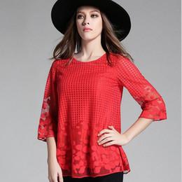 tela de red sexy Rebajas Blusas femininas 2018 camisas Moda Mujeres Blusas Sexy blusa Hollow Lace Net Yarn Loose Blusa Tops Plus Size Clothes M-5XL