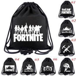 Discount canvas string bag - Fortnite drawstring bags black canvas Draw string bag Fortnite shoulder bag backpack for unisex teenager students