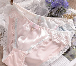 Canada 100% de vraies photos M L XL XXXL 3XL, plus la taille Belle Mignonne Lolita Kawaii Princesse Sexy Dentelle Perles Bow Panties Sous-vêtements Brief 204 cheap kawaii lace Offre
