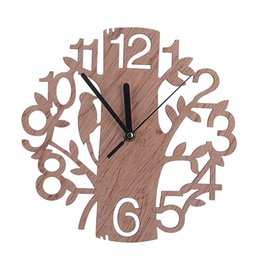 Wholesale Bird Mechanical - 22cm Creative 3D Wooden Tree and Bird Watch Large Dimensions Clock Modern European Needle Clock