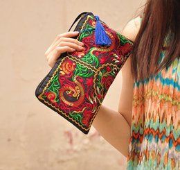 multi compartment handbags Promo Codes - Hot Women Ethnic National Retro Butterfly Flower Bags Handbag Coin Purse Embroidered Lady Clutch Tassel Small Flap Summer Bolsa Sale