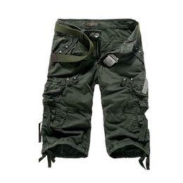pantalones cortos cargo capri hombres Rebajas 2016 Nuevo Mens Summer Army Cargo 3/4 Pantalones de Tres Cuartos de Algodón Multi Bolsillos Tactical Camo Casual Hombres Basculador Corto