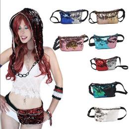 Wholesale Hip Belts - Women Mermaid Sequins Glitter Waist Bag Travel Pack Glitter Fanny Pack Belt Bag Hip Purse 11 Styles 30pcs OOA3852