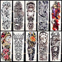 61e6f98e000ec Full Arm Body Art Temporary Tattoo Sticker Tribal Warrior Skull Totem For  Men Women Fake Machine Fish Waterproof Tattoo Stickers