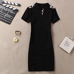 blaues seidenknie-hochkleid Rabatt 2019 Luxus Sexy Frauen Kleider Grid Stripe Print Kurzarm Kleider Lady Designer Clothing Club Skinny Kleider