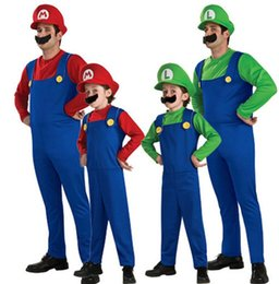 Wholesale luigi party - Adult Children Cosplay Costume Super Mario Luigi Brothers Plumber Fancy Party Costume 3pcs 1set romper +hat +Beard KKA5689