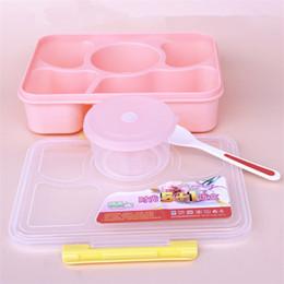 2019 boîtes à micro-ondes 5 en 1 boîte à lunch micro-ondes fruits conteneur de nourriture portable boîte de stockage de pique-nique en plein air voyage Bento Box pour Kid School Lunch T1I293 boîtes à micro-ondes pas cher