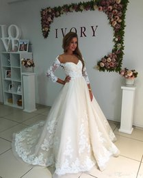 Wholesale Long Red Dres - 2018 Sweetheart Lace Wedding Dresses Sheer Neck 3 4 Sleeves A Line Bridal Gowns Sweep Train Plus Size Boho Wedding Dres
