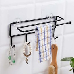 Wholesale quality kitchen towels - ZMHEGW Strong Transparent Suction Cup Wall 4 Hooks Towel Rack Bathroom Kitchen Storage Holder Hanger Easy To Install Top Quality