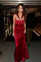Wholesale Long Evening Dress Selena Gomez - Sexy Prom Dresses Long Sheath Elastic Satin Celebrity Selena Gomez Formal Party Gowns Zipper Back Cocktail Dresses Evening Wear