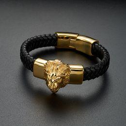 Punk Cool Men Bracelet Bangle Gold Lion Head Woven Braided Wild Animal Vintage Stainless Steel Jewelry Bracelets for Male cheap stainless steel animal bracelets от Поставщики браслеты из нержавеющей стали