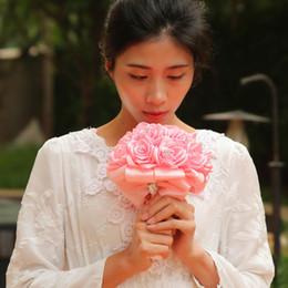 2019 rosa barato china La manera barata PE Rose Dama de honor de la boda de la boda florece el ramo nupcial Rose Ribbon Fake Wedding bouquet de noiva CPA1589 modificado para requisitos particulares rebajas rosa barato china
