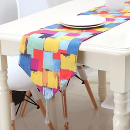 Wholesale tea table mats - Table Runner Geometry Graffiti Color Cotton Linen Highgrade Mat Fashion Fabric Art Tea Tables Bed Flag Tail Towel 23qca4 V