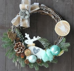 christmas wreaths for door Promo Codes - Christmas Wreath Decoration For Home Christmas Elk Wreath Door Wall Ornament Garland Hanging Decoration Christmas Gift Chain Garland