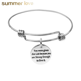 2019 aço inoxidável do diy do encanto Diy você é mais corajoso do que você acredita pulseiras de fio de aço inoxidável ajustável inspirational pulseiras para as mulheres extensível aço inoxidável do diy do encanto barato