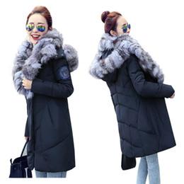 Wholesale Blue Fox Fur Collar Coat - Large Real Fox Fur Very Warm Winter Jacket Women Natural Fox Fur Collar Hooded Down Jacket For Women Winter Coat Female Parka