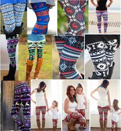 1519fcbebc6d Christmas Mother daughter Leggings Snowflake Elk Deer Printed family  legging mom girls Pants Bodycon Trousers Tights Pant holiday gifts