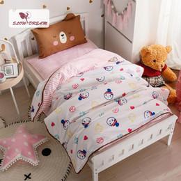 2019 juegos de sábanas de lino puro SLOWDREAM Juego de cama de dibujos animados para niños Ropa de cama Sábanas de algodón puro de lino puro Funda nórdica Juego de ropa de cama Juego de cama Queen King juegos de sábanas de lino puro baratos
