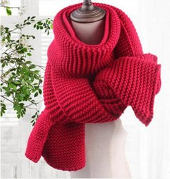 Wholesale Long Winter Warm Scarf Knit - 2017 Solid Color Coarse Wool Scarf Female Winter Students Couple Long Thickening Warm Knitting Scarves Sweet Girl Wraps Scarf