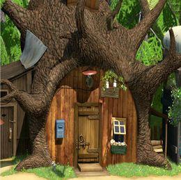 8x8ft foto sullo sfondo Sconti 8x8FT Masha Bear Tree House Wood Door Foresta Sfondo personalizzato Photo Studio Fondali in vinile 240cm x 240cm