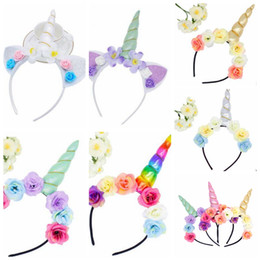 Wholesale Diy Flowers For Headbands - Unicorn Horn Hairband Kids Unicorn Headband for Party DIY Hair Accessories Flower Hair Clasp Cosplay Crown Baby Headband Cat Ears KKA4190